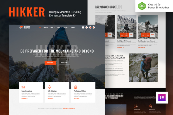 Hikker – Hiking & Mountain Trekking Elementor Template Kit