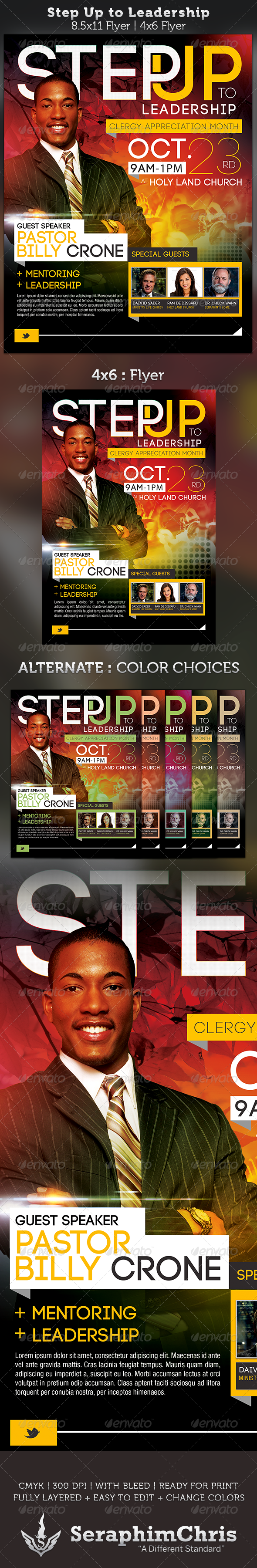 Step Up to Leadership: Church Flyer Template - Church Flyers