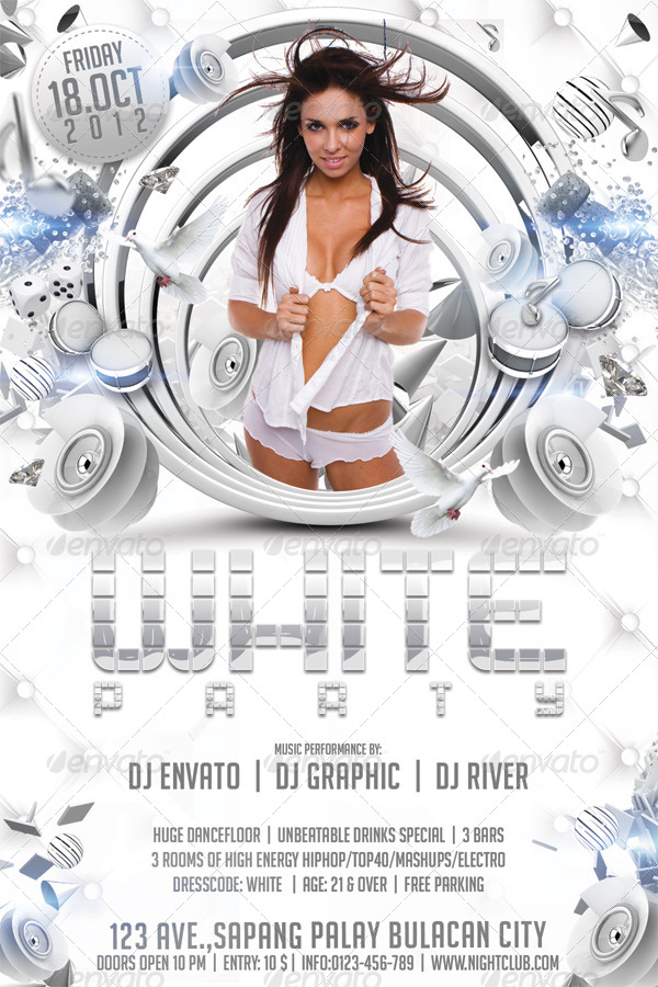 White Party Flyer Template By Hermz | Graphicriver