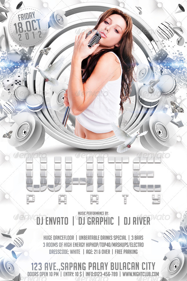 White Party Flyer Template By Hermz Graphicriver