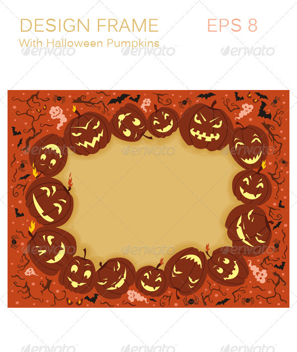 Design Frame With Halloween Pumpkins - Halloween Seasons/Holidays