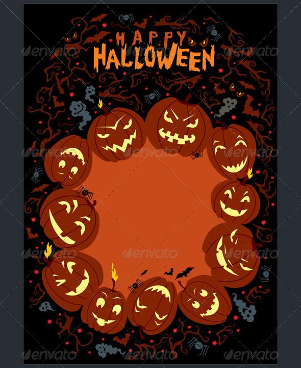 Vector Happy Halloween Poster - Halloween Seasons/Holidays