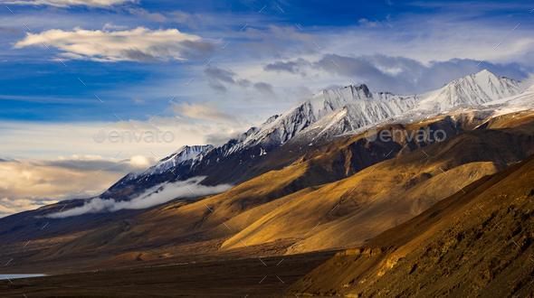 Pangong tso Lake, Ladakh, Jammu and Kashmir, India - Stock Photo - Images