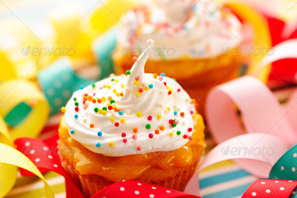 Cupcakes with whipped cream - Stock Photo - Images
