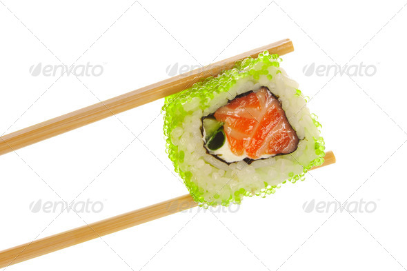 Sushi roll with chopsticks - Stock Photo - Images