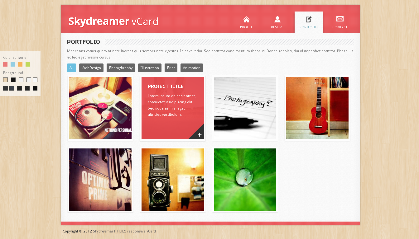 skydreamer html5 responsive vcard by simplesphere
