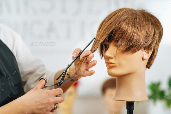 Haircutting Education - Hairstylist Explaining Haircutting Techniques - Stock Photo - Images