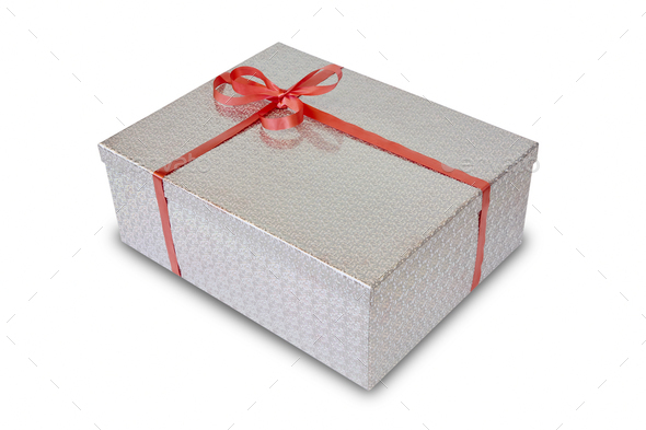 Gift box isolated on white. Packaging. Birthday and christmas celebration - Stock Photo - Images