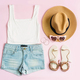 Fashion summer women's clothes set with accessories on pink background, Flat lay, Top view - PhotoDune Item for Sale