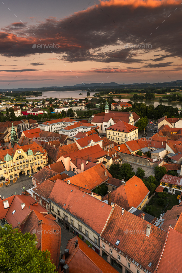 Cityscape of Ptuj Oldest City in Slovenia at Sunset - Stock Photo - Images