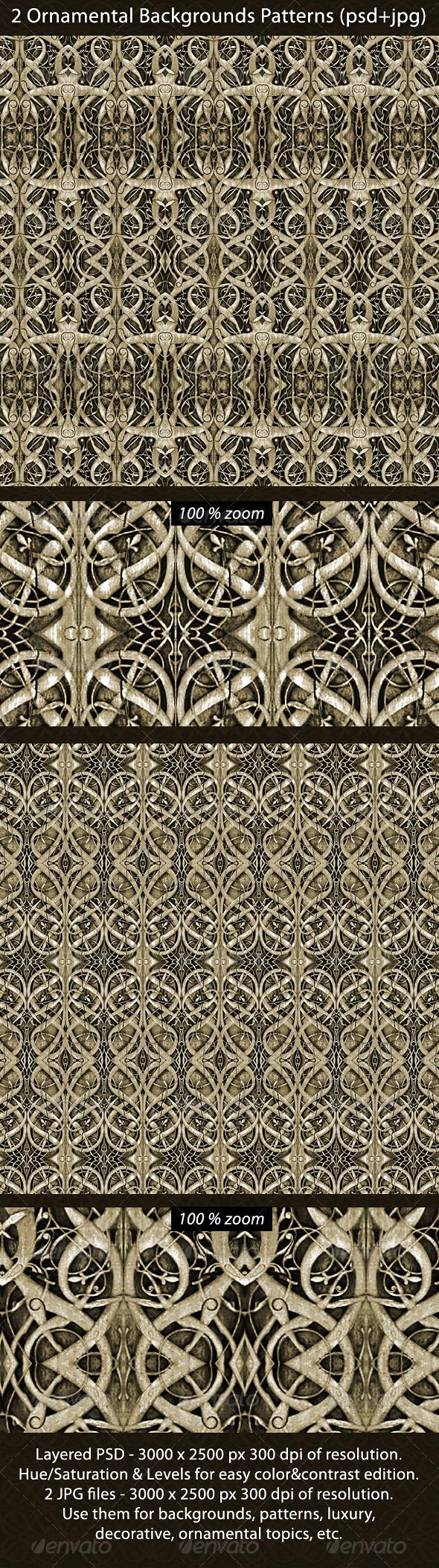 2 Ornamental Backgrounds Patterns - Backgrounds Graphics