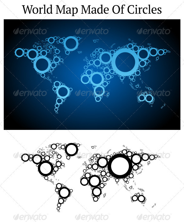 Vector World Map Made Of Circles - Conceptual Vectors