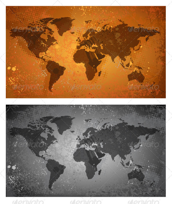 World Map On Grunge Background - Abstract Conceptual