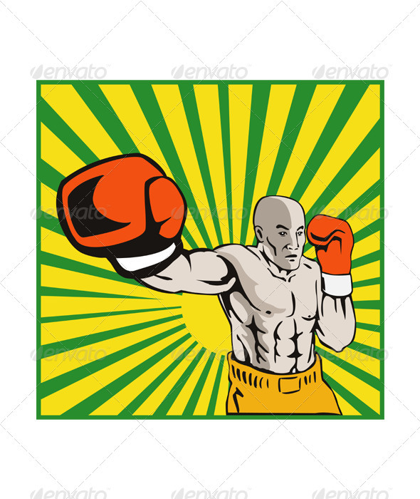 Boxer Boxing Jabbing Front - Sports/Activity Conceptual