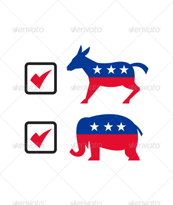 Republican Elephant Democrat Donkey Election Ballo - Animals Characters