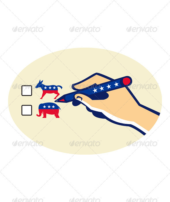 Hand Holding Pen Voting American Election - Animals Characters