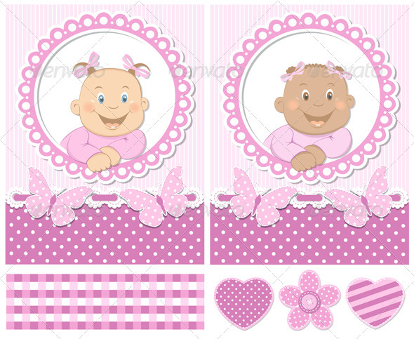 Happy Baby Girls Pink Scrapbook Set - Decorative Vectors