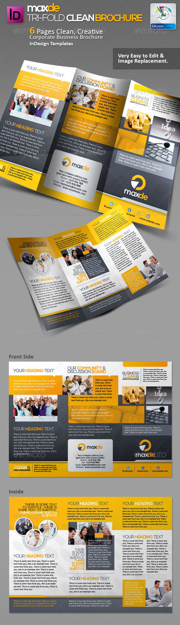 Maxde Tri-fold Clean Brochure - Corporate Brochures