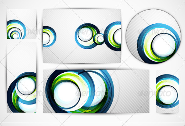 Blue Swirl Banners - Backgrounds Decorative