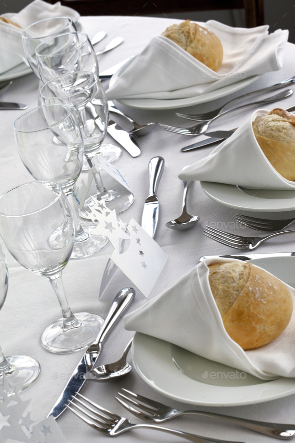 Wedding day in a stylish French  restaurant - Stock Photo - Images