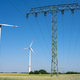 Electricity pylon, power lines and wind turbines - PhotoDune Item for Sale