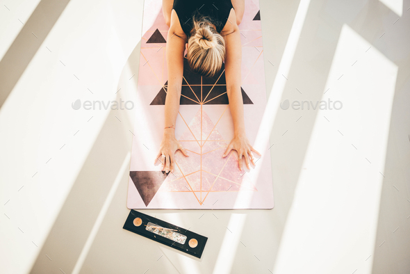 Young woman making yoga workout - Stock Photo - Images