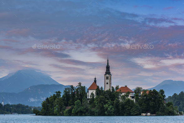 Romantic Bled Lake with Church on Island in Slovenia at Sunset - Stock Photo - Images