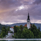 Beautiful Sunset at Slovenia Famous Bled Lake with Church on Island - PhotoDune Item for Sale