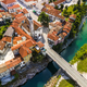 Kanal Ob Soci Town at River Soca in Slovenia. Aerial Drone View - PhotoDune Item for Sale