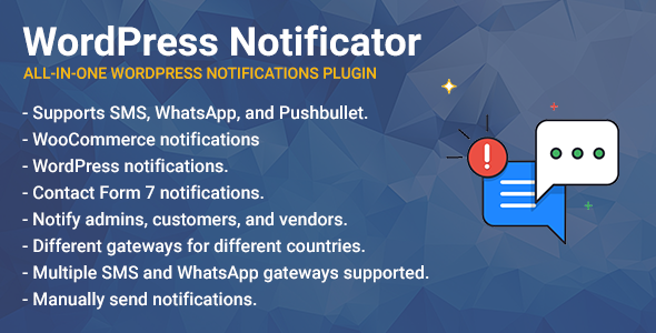 WordPress Notificator: SMS, WhatsApp, and Pushbullet notifications