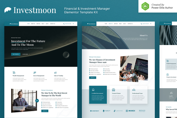 Investmoon – Finance & Investment Manager Elementor Template Kit