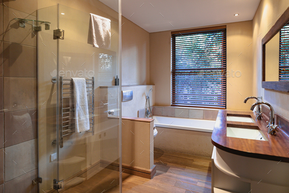 Interior of beautiful luxury bathroom of comfortable modern home - Stock Photo - Images
