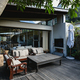 View of nice luxury terrace and garden of comfortable modern home - PhotoDune Item for Sale