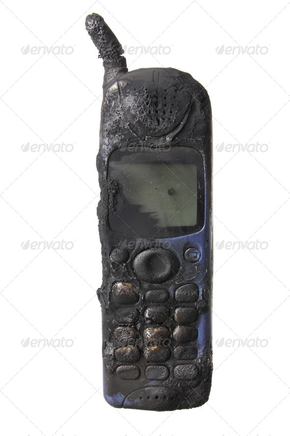 Burnt Mobile Phone - Stock Photo - Images