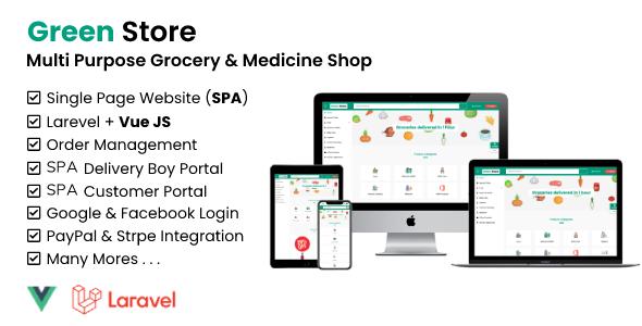 Green Store - Laravel & VUE JS Grocery and Medicine Shop