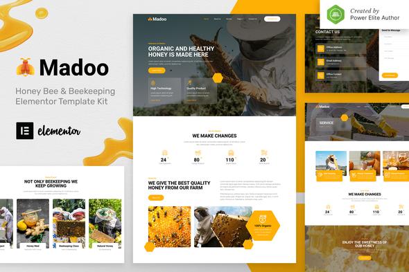 Madoo – Honey Bee & Beekeeping Elementor Template Kit