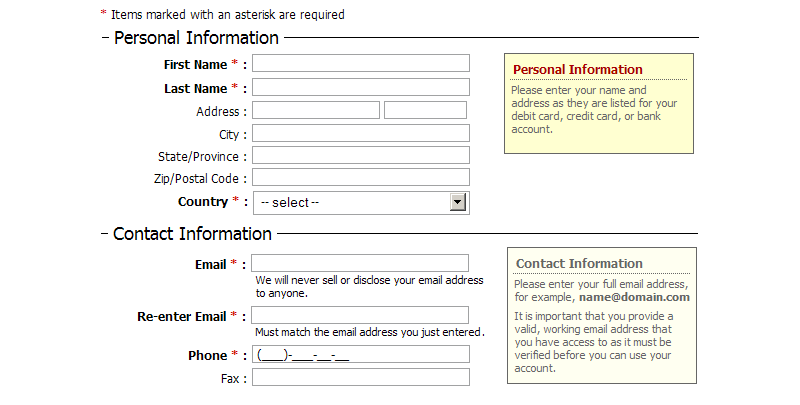 personal data forms template