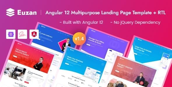 Excellent Angular 12 Multipurpose Landing Page Template - Euzan