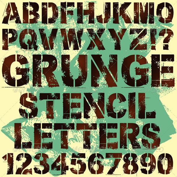 Stencil Letters - Miscellaneous Vectors