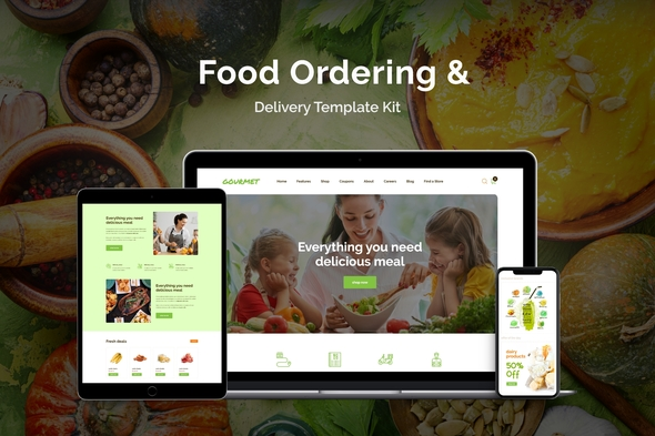 Gourmet - Food Ordering & Delivery Elementor Template Kit