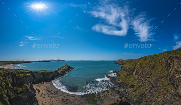 Whitesands Bay beach and cliffs, Wales - Stock Photo - Images