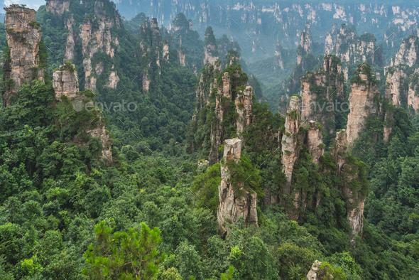 Stone pillars of Tianzi mountains in Zhangjiajie - Stock Photo - Images