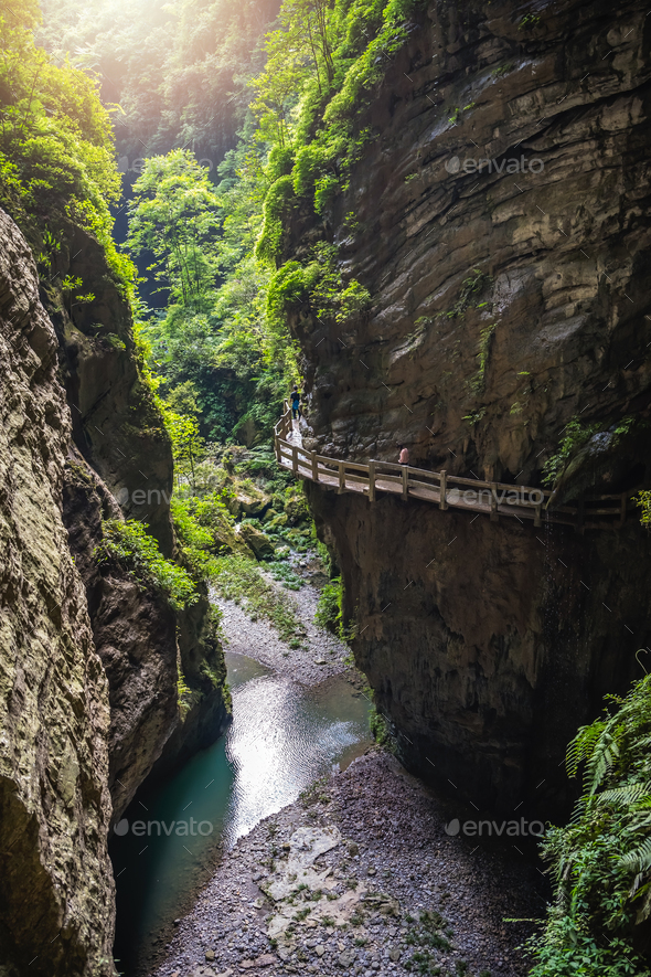 Cliff path in Wulong National Park - Stock Photo - Images