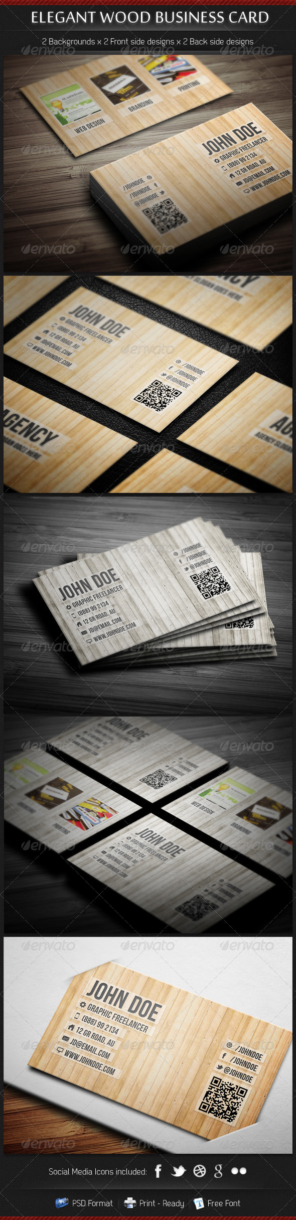 Elegant Wood Business Card Template - Real Objects Business Cards