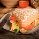 Triangular sandwich with cheese, ham and tomato. - PhotoDune Item for Sale