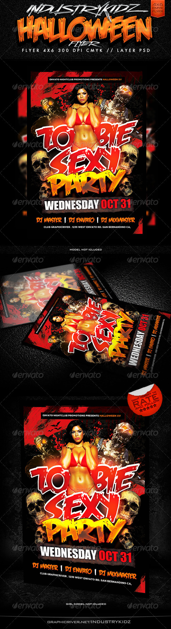Zombie Sexy Party Flyer Template - Holidays Events