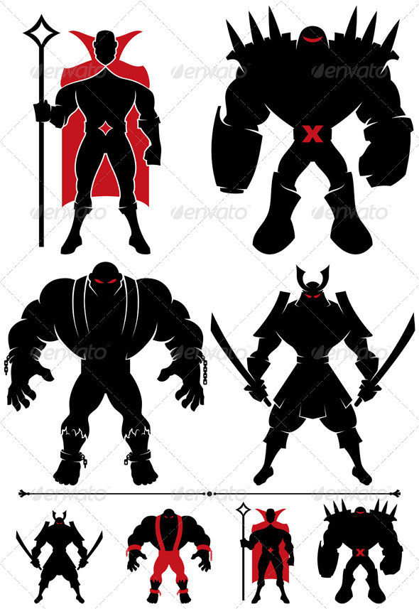 Supervillain Silhouette - Characters Vectors