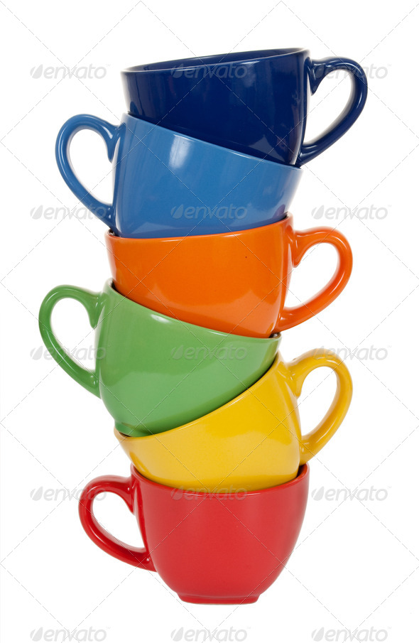 Pile of tea cups - Stock Photo - Images