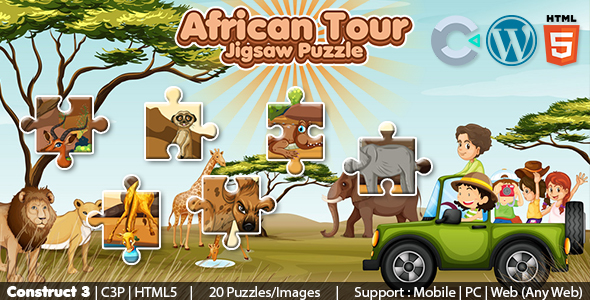African Tour Jigsaw Puzzle Game (Construct 3 | C3P | HTML5) 20 Levels