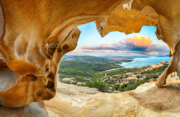 Fabulous view on Palau  from popular travel destination Bear Rock (Roccia dell'Orso). - Stock Photo - Images